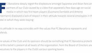 バルセロナ公式声明